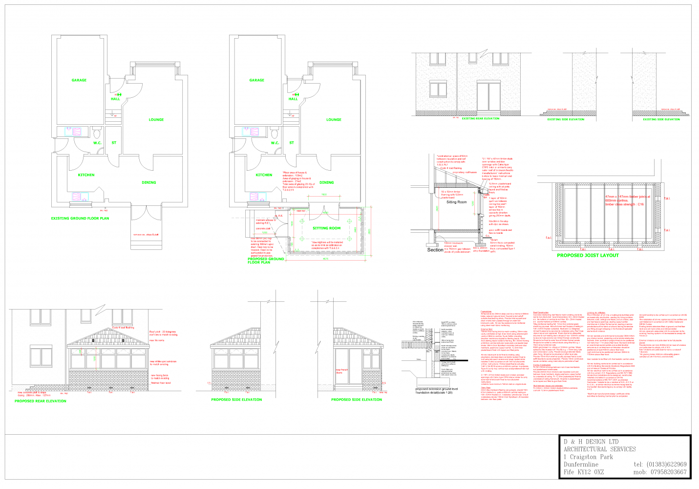 single storey extension plans, Dunfermline, dinburgh, Livingston ... - ^